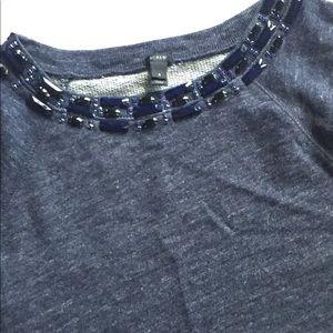 J.crew Jeweled Short Sleeve Sweatshirt